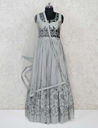 Grey raw silk floor length anarkali salwar dress