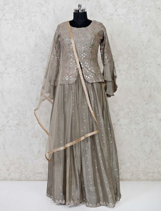 Grey raw silk lehenga suit