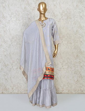 Grey raw silk punjabi sharara suit party wear
