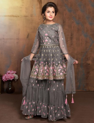 Grey round neck girls sharara suit