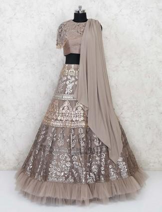 Grey round neck net lehenga choli