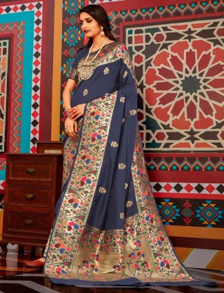 Grey paithani saree design in semi banarasi silk
