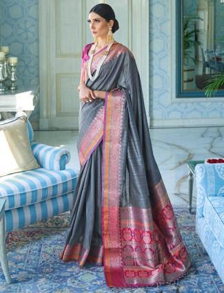 Grey saree design in silk for wedding