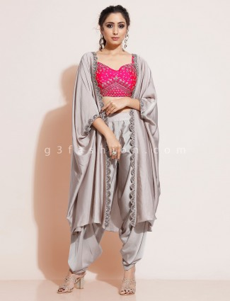 Grey satin jacket style dhoti and crop top