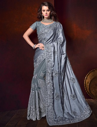 Grey satin net saree for party function
