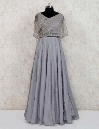 Grey satin party wear gown
