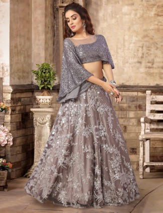 Grey satin tissue silk party lehenga choli