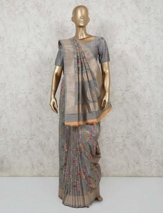 Grey semi banarasi silk saree in semi banarasi silk