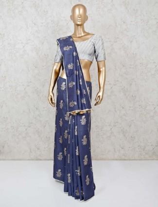 Grey semi silk festive sari