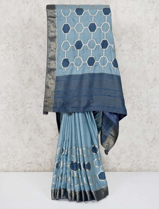 Grey semi silk festive wear saree