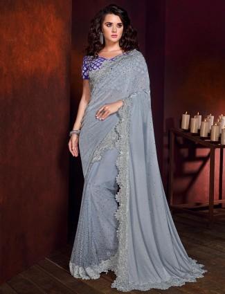 Grey shimmer party saree