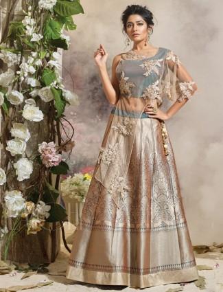 Grey silk alluring party wear lehenga choli