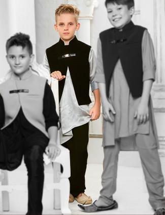 Grey silk fabric waistcoat set