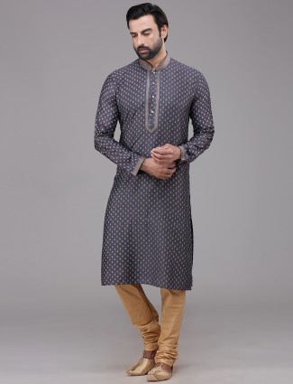 Grey silk festive wear printed kurta suit