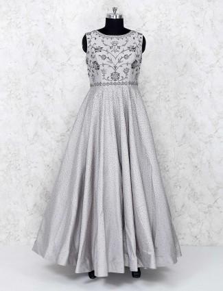Grey silk party wear gown