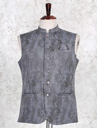 Grey silk party wear waistcoat