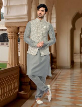 Grey silk wedding waistcoat set
