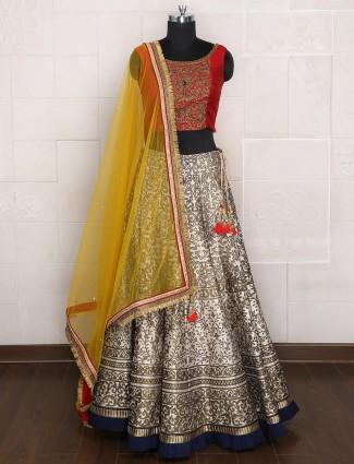 Grey silk wedding wear lehenga choli