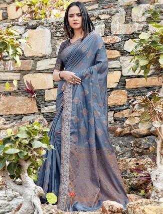 Grey soft cotton festive wear saree
