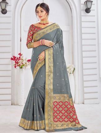 Grey soft cotton saree for wedding wear