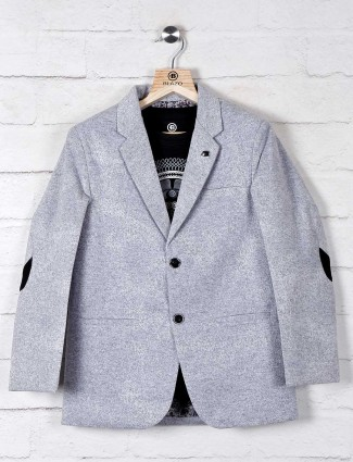 Grey solid black terry rayon boys blazer