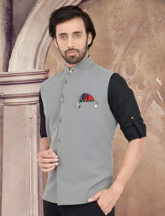 Grey solid party wear cotton waistcoat