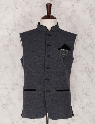 Grey solid waistcoat set for mens