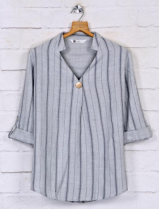 Grey stripe cotton casual top for women