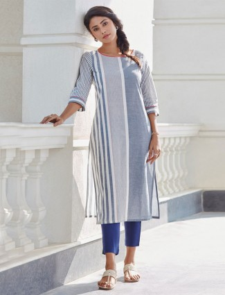 Grey stripe kurti design in cotton