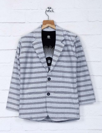 Grey stripe pattern cotton blazer