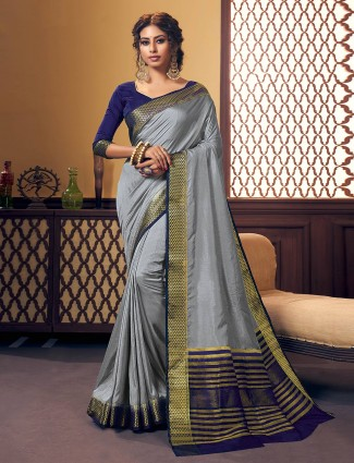 Grey stylish cotton silk saree in cotton silk