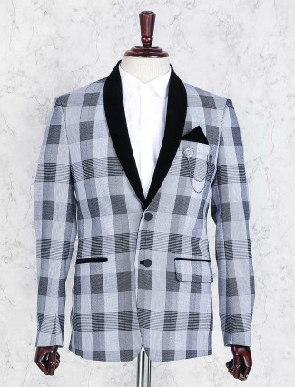 Grey terry rayon checks blazer