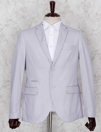 Grey terry rayon fabric printed blazer