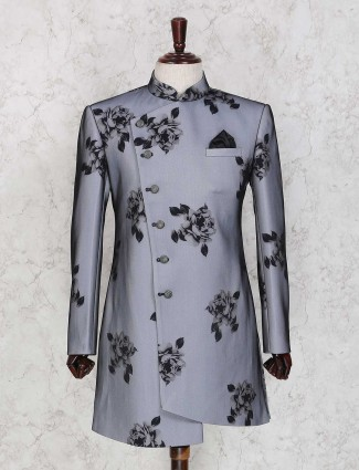 Grey terry rayon semi party wear indo western