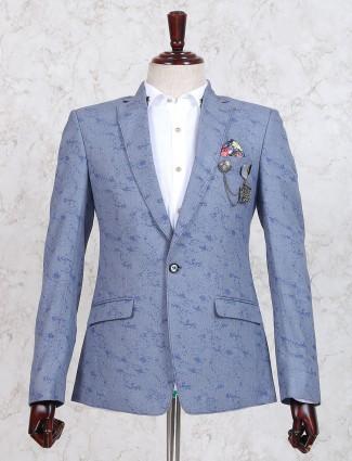 Grey texture terry rayon blazer