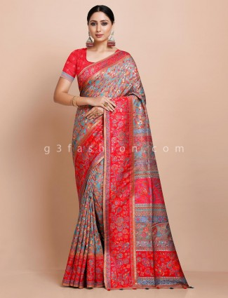 Grey thread weaving pashmina silk saree for wedding