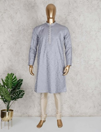 Grey thread work cotton kurta suit