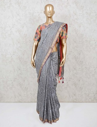Grey tussar silk saree in party with ready made blouse