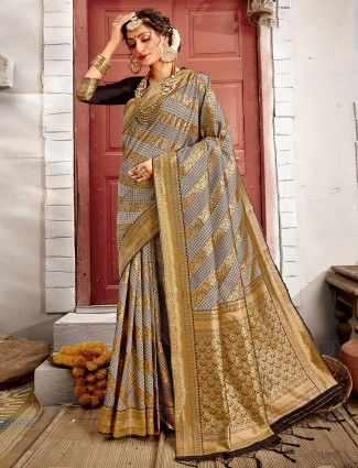 Grey wedding wear handloom banarasi silk saree