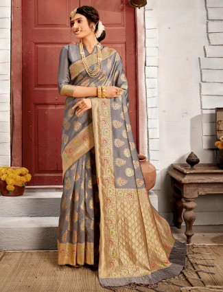 Grey wedding wear saree in handloom banarasi silk
