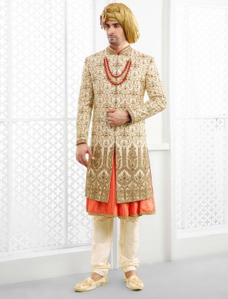 Groom wear cream hued designer sherwani
