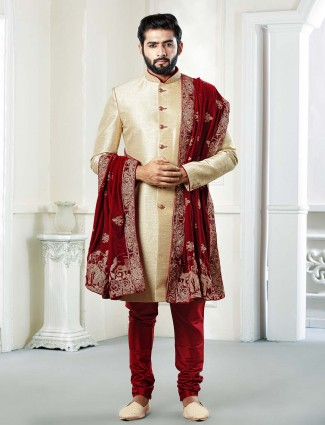 Groom wear raw silk cream hue sherwani