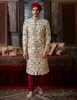Groom wedding sherwani in cream raw silk