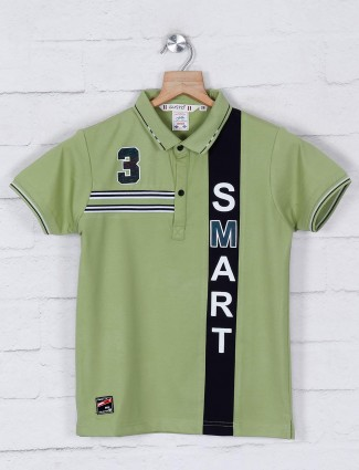Gusto green cotton casual polo t-shirt
