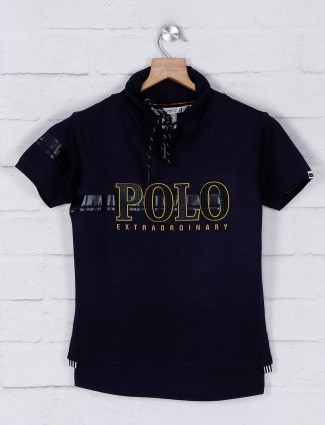 Gusto navy printed cotton casual t-shirt