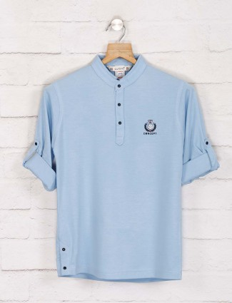 Gusto solid light blue henley neck t-shirt
