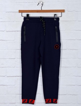 Gusto solid navy cotton trackpant for boys