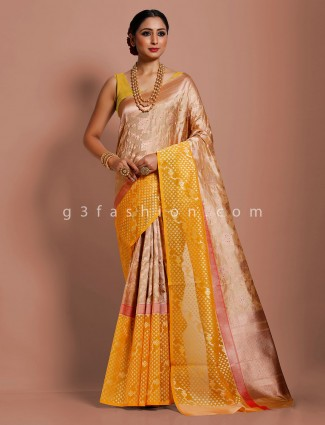Haldi function beige and yellow banarasi silk saree