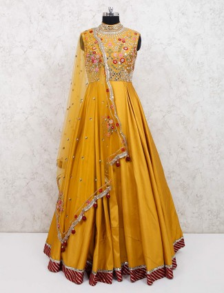 Haldi function yellow raw silk gown