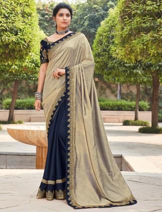 Half and half beige and navy satin saree for weddings